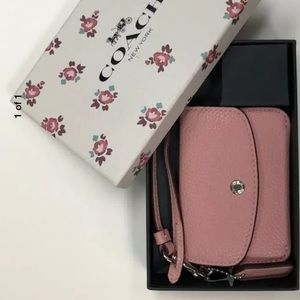 NWT Coach Small Card Pouch Wallet Peony/Silver